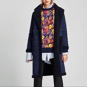 Zara Women's Double Sided Coat Navy Black Large